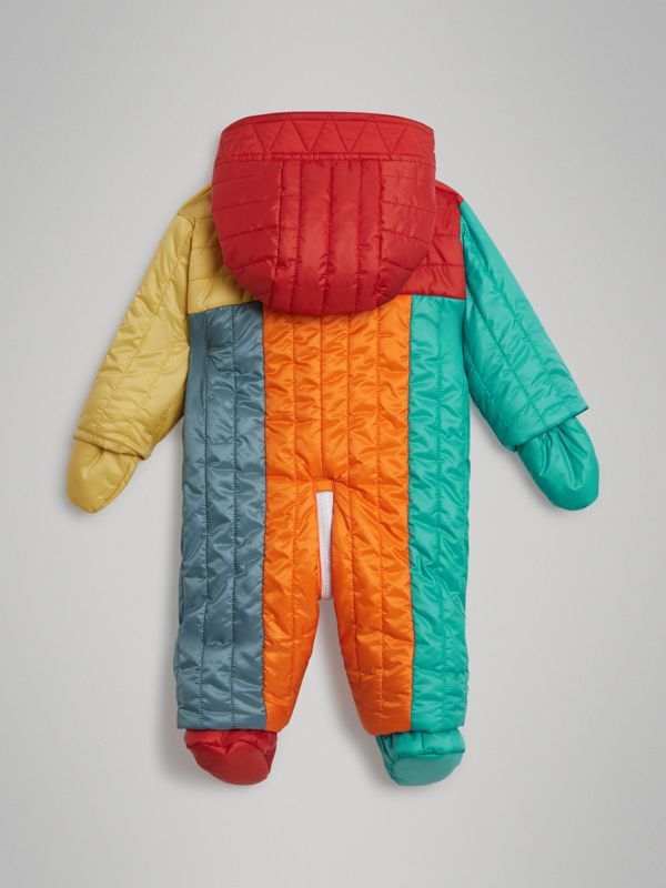Colour Block Quilted Puffer Suit in Orange Red - Children | Burberry - cell image 3
