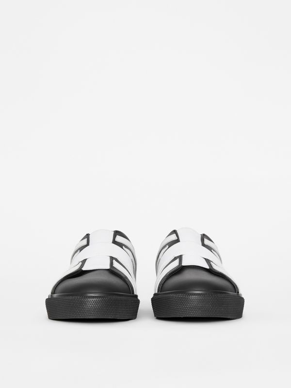 Union Jack Motif Slip-on Sneakers in Black/optic White - Women | Burberry - cell image 3
