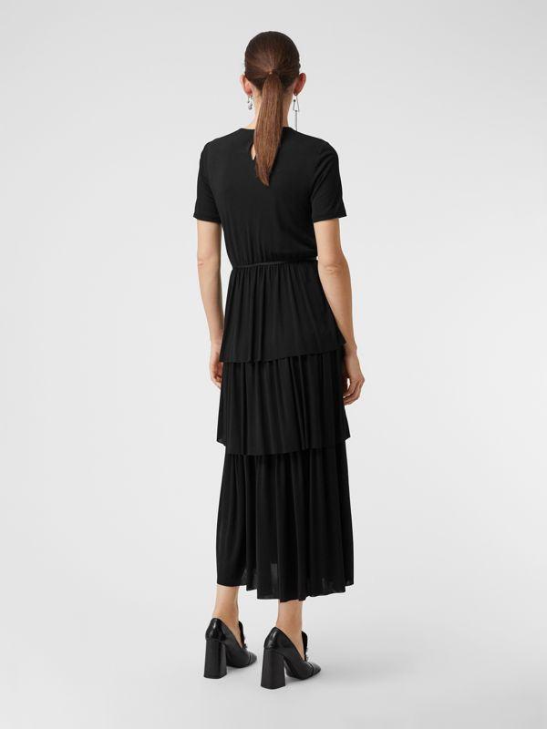 Crystal Brooch Detail Tiered Jersey Dress in Black - Women | Burberry - cell image 2