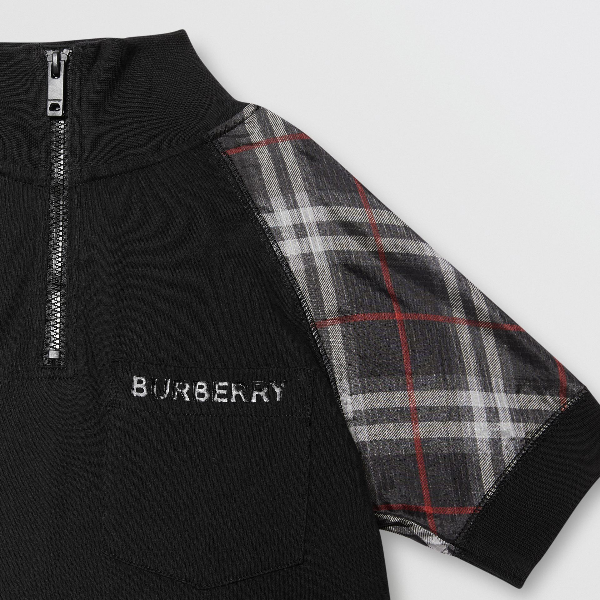 Vintage Check Detail Cotton Zip-front Polo Shirt in Black - Boy | Burberry - gallery image 4
