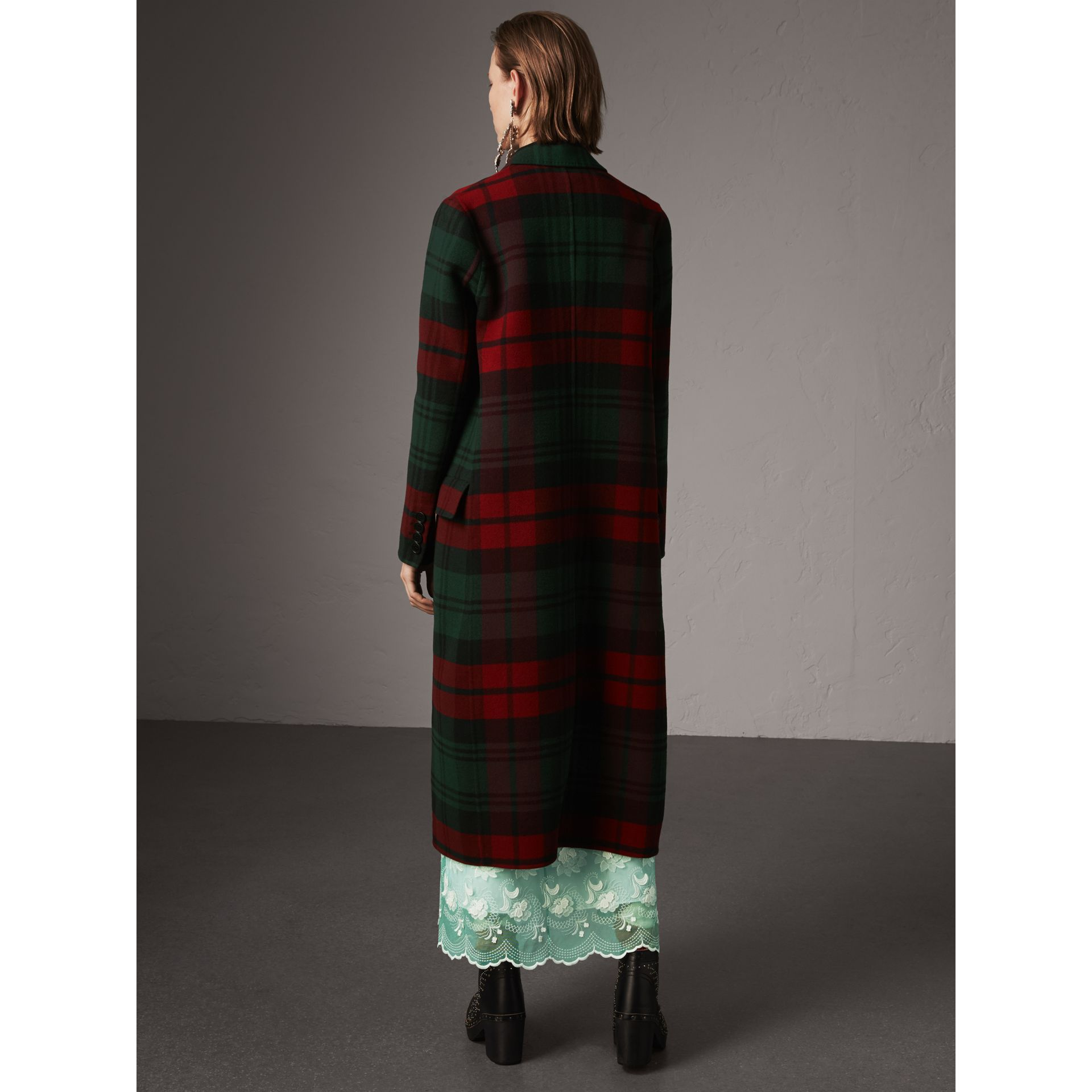 Tartan Wool Double-breasted Coat in Racing Green/dark Crimson - Women | Burberry - gallery image 3