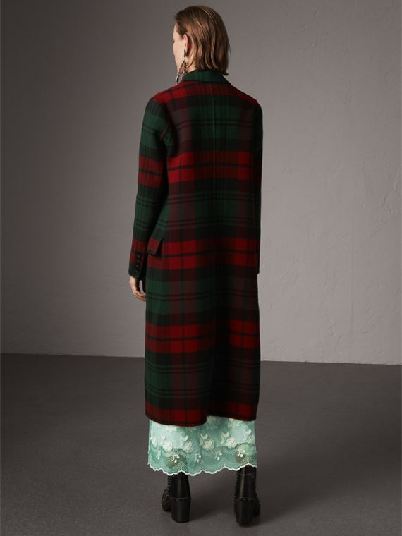 Tartan Wool Double-breasted Coat in Racing Green/dark Crimson - Women | Burberry - cell image 2