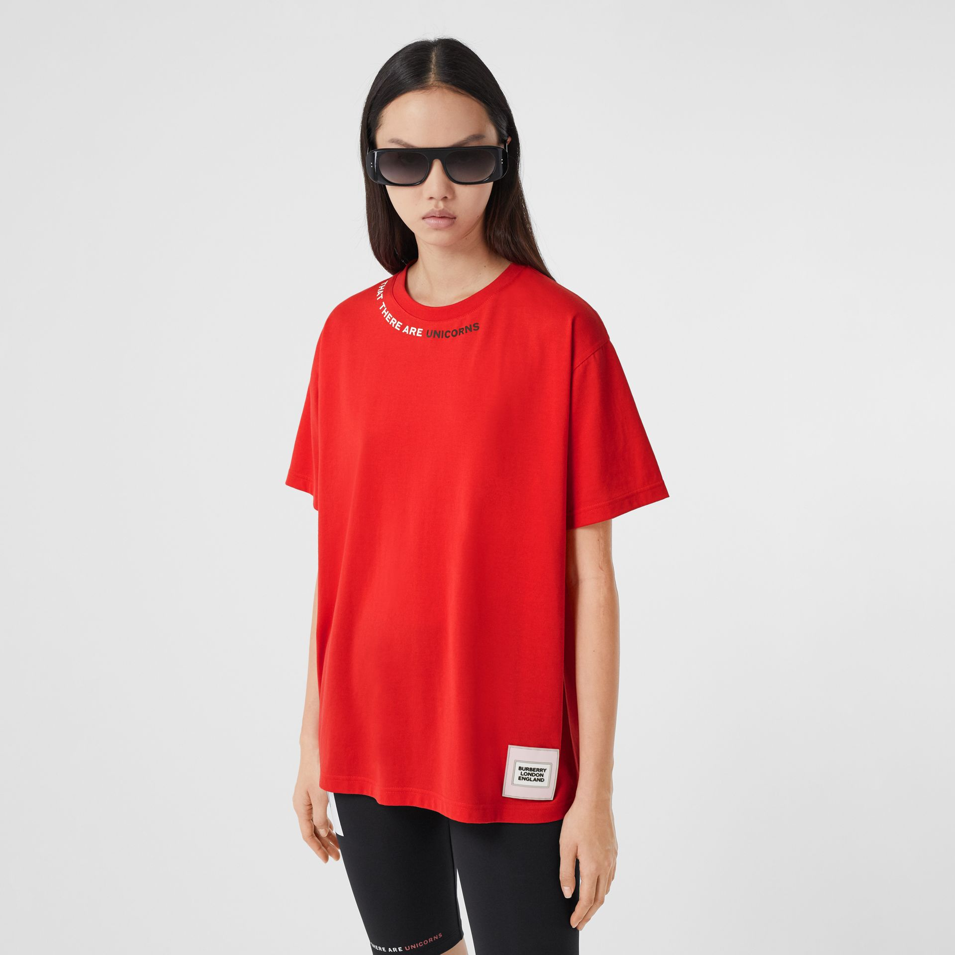 Quote Print Cotton Oversized T-shirt in Bright Red - Women | Burberry - gallery image 6