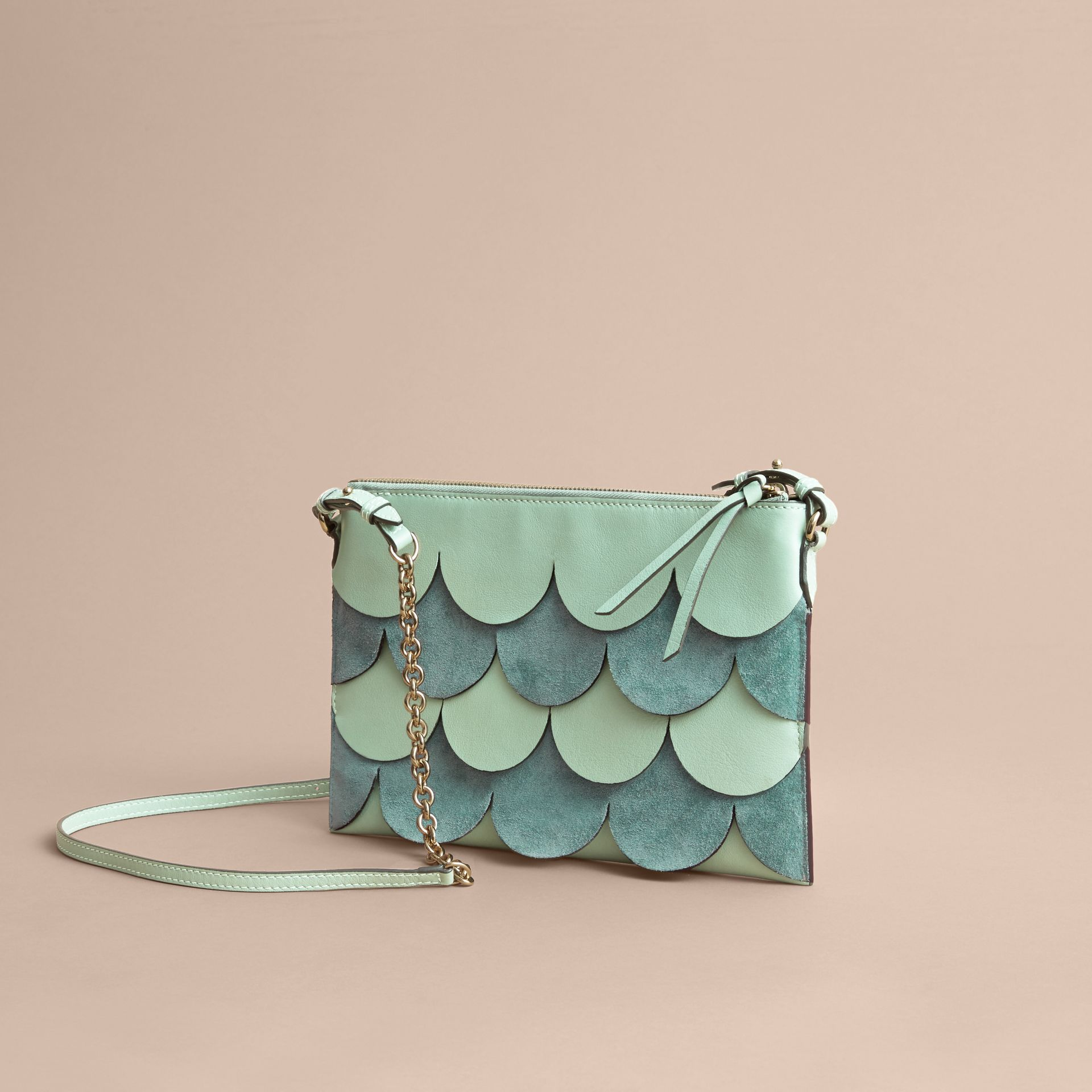 Two-tone Scalloped Leather and Suede Clutch Bag in Celadon Green - Women | Burberry - gallery image 5