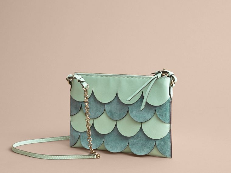 Two-tone Scalloped Leather and Suede Clutch Bag in Celadon Green - Women | Burberry - cell image 4