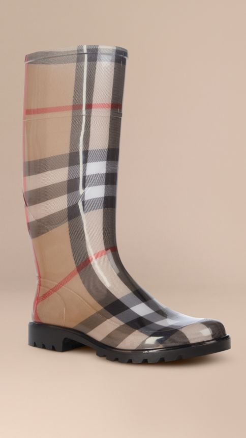 House check/black House Check Rain Boots - Image 1