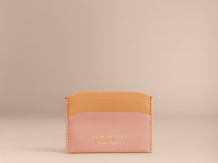 Two-tone Trench Leather Card Case in Ash Rose/pl Clemn - Women | Burberry United Kingdom - cell image 4