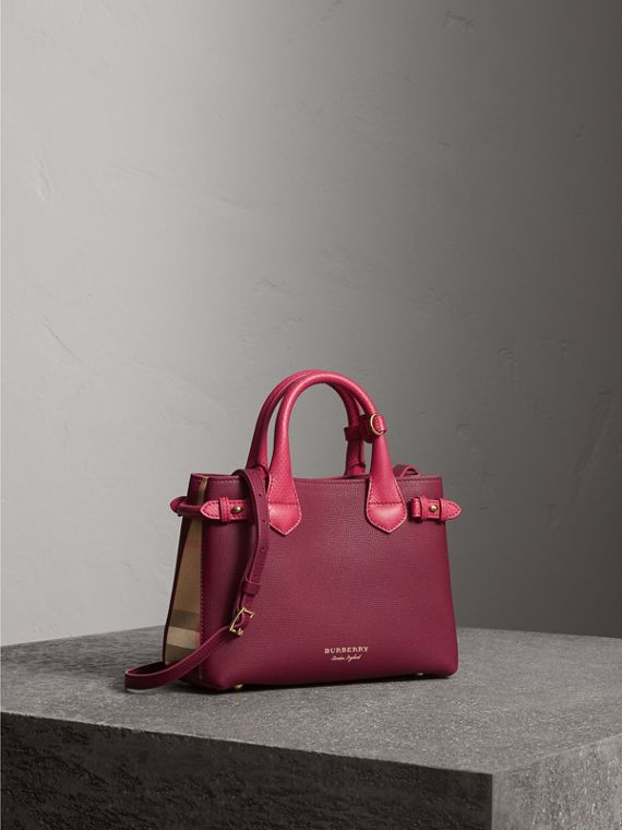 The Small Banner in Two-tone Leather in Berry Pink