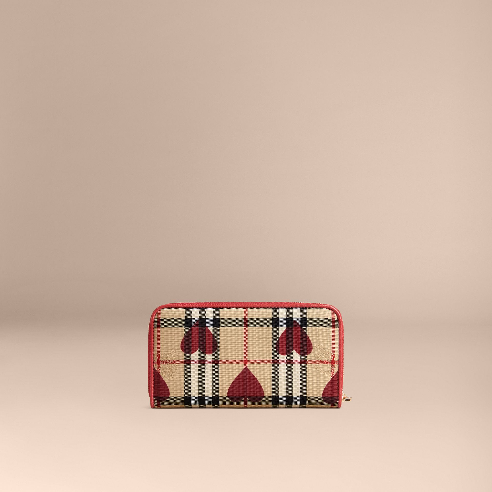 Horseferry Check and Hearts Ziparound Wallet in Parade Red - gallery image 3