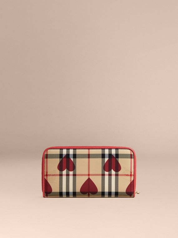 Horseferry Check and Hearts Ziparound Wallet in Parade Red - cell image 2