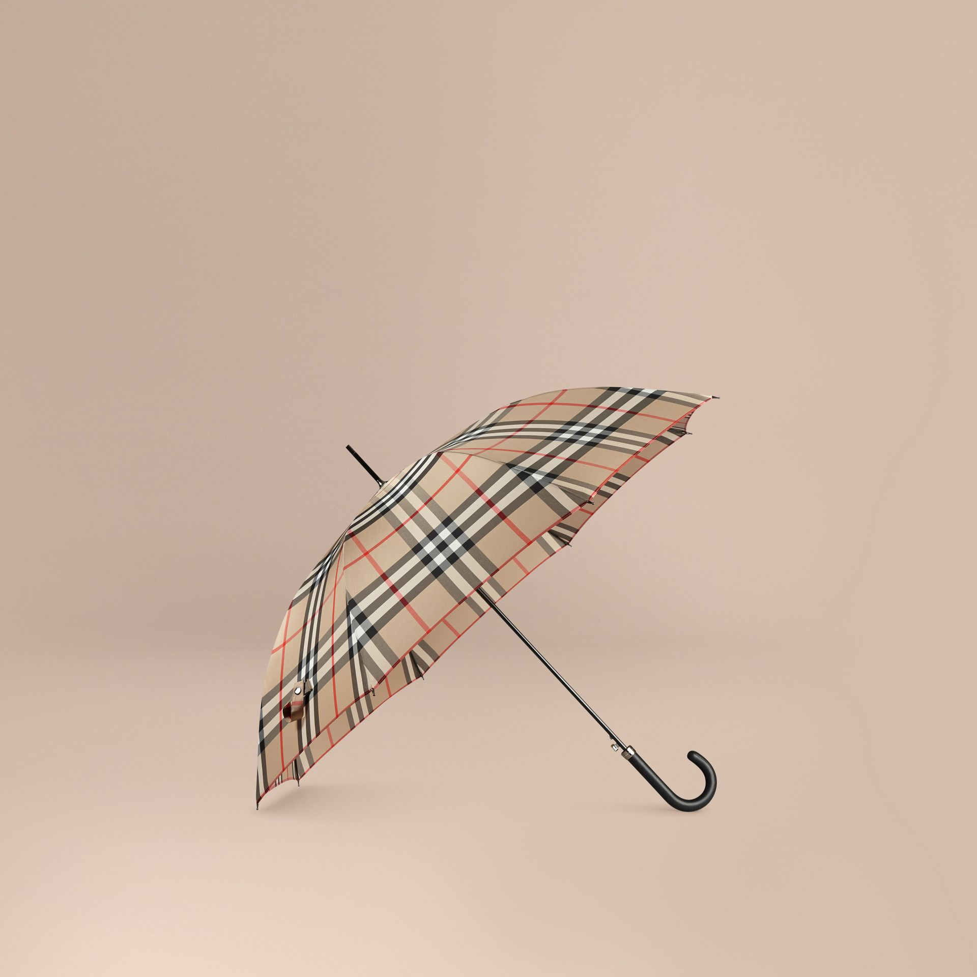 Giant Exploded Check Walking Umbrella in Camel | Burberry - gallery image 1