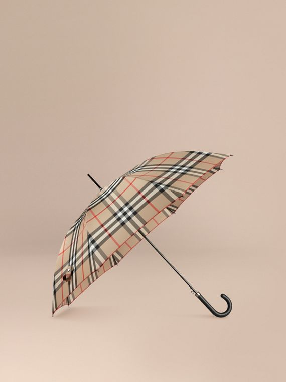 Giant Exploded Check Walking Umbrella in Camel