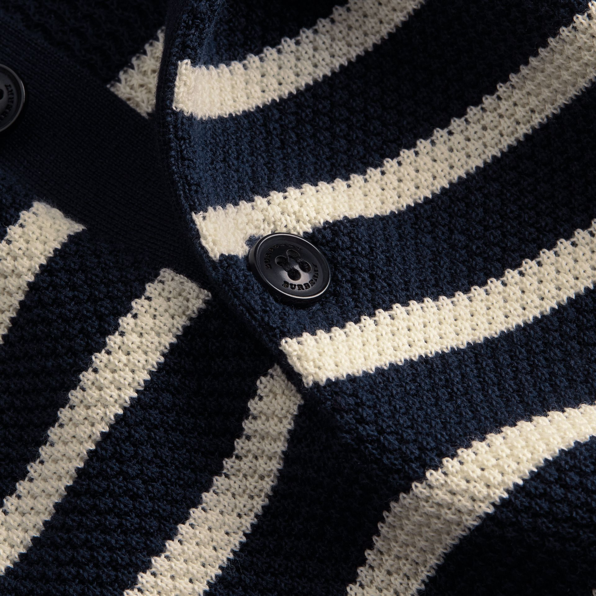 Striped Knitted Cotton Polo Shirt in Navy - Men | Burberry Australia - gallery image 2