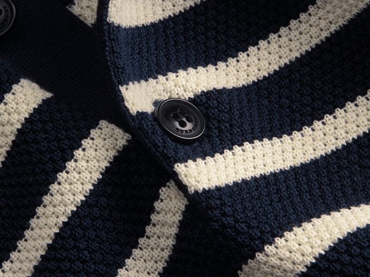 Striped Knitted Cotton Polo Shirt in Navy - Men | Burberry - cell image 1