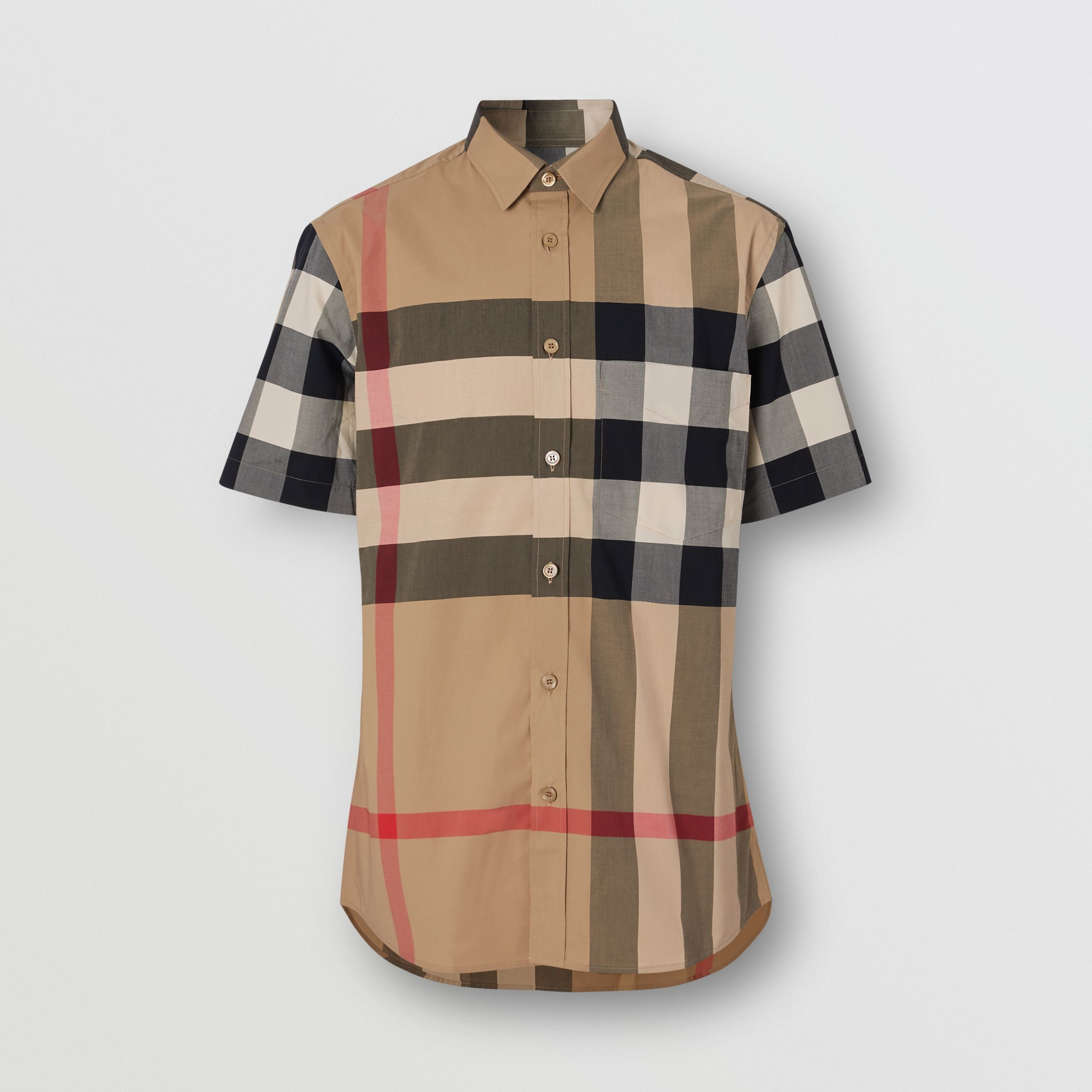 Short-sleeve Check Stretch Cotton Poplin Shirt in Archive Beige - Men | Burberry - 4