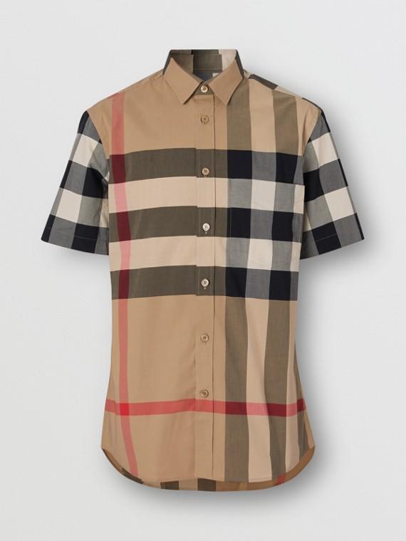 Camisa de mangas curtas em popeline de algodão stretch xadrez (Bege Clássico)