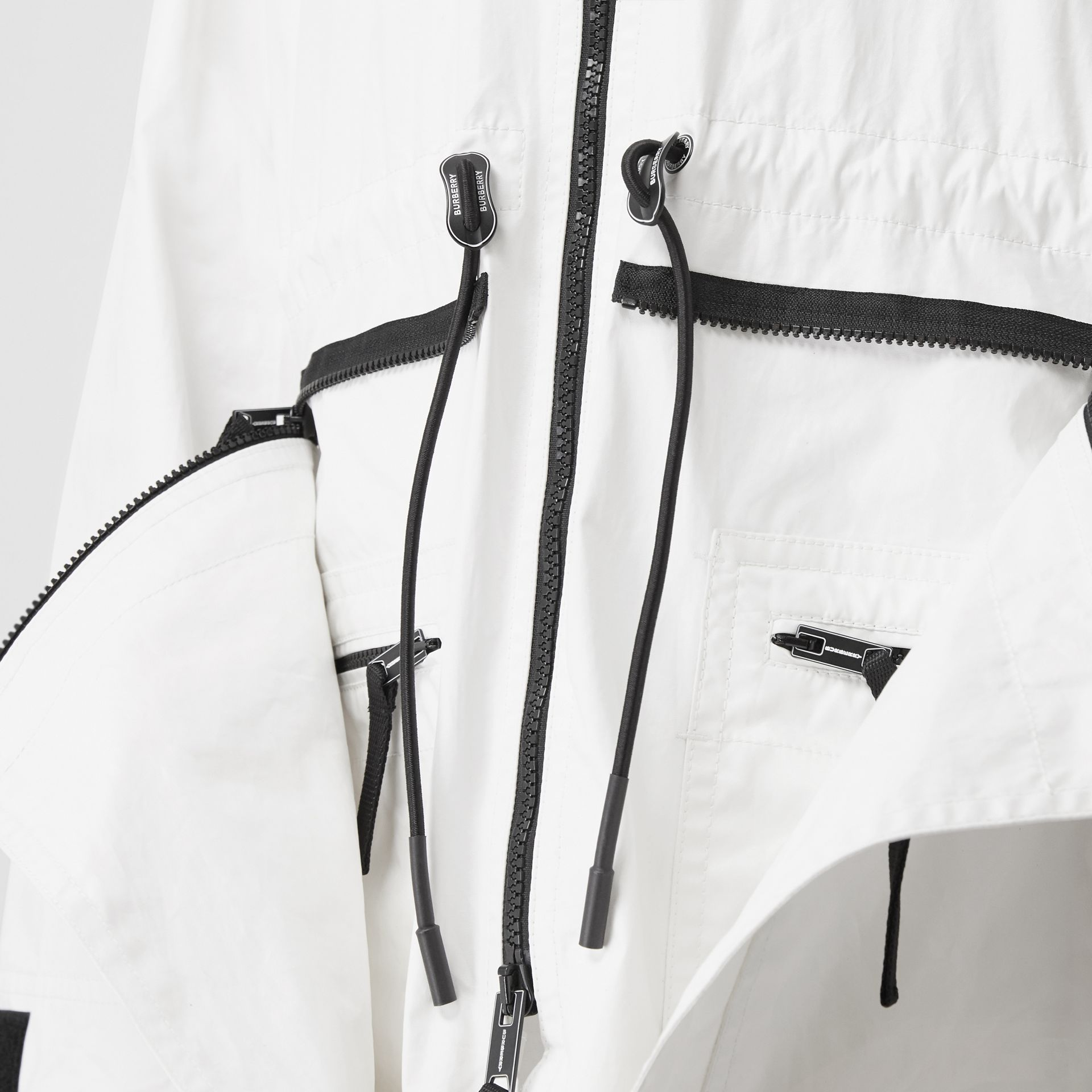 Zip Panel Technical Cotton Parka in Optic White | Burberry - gallery image 4