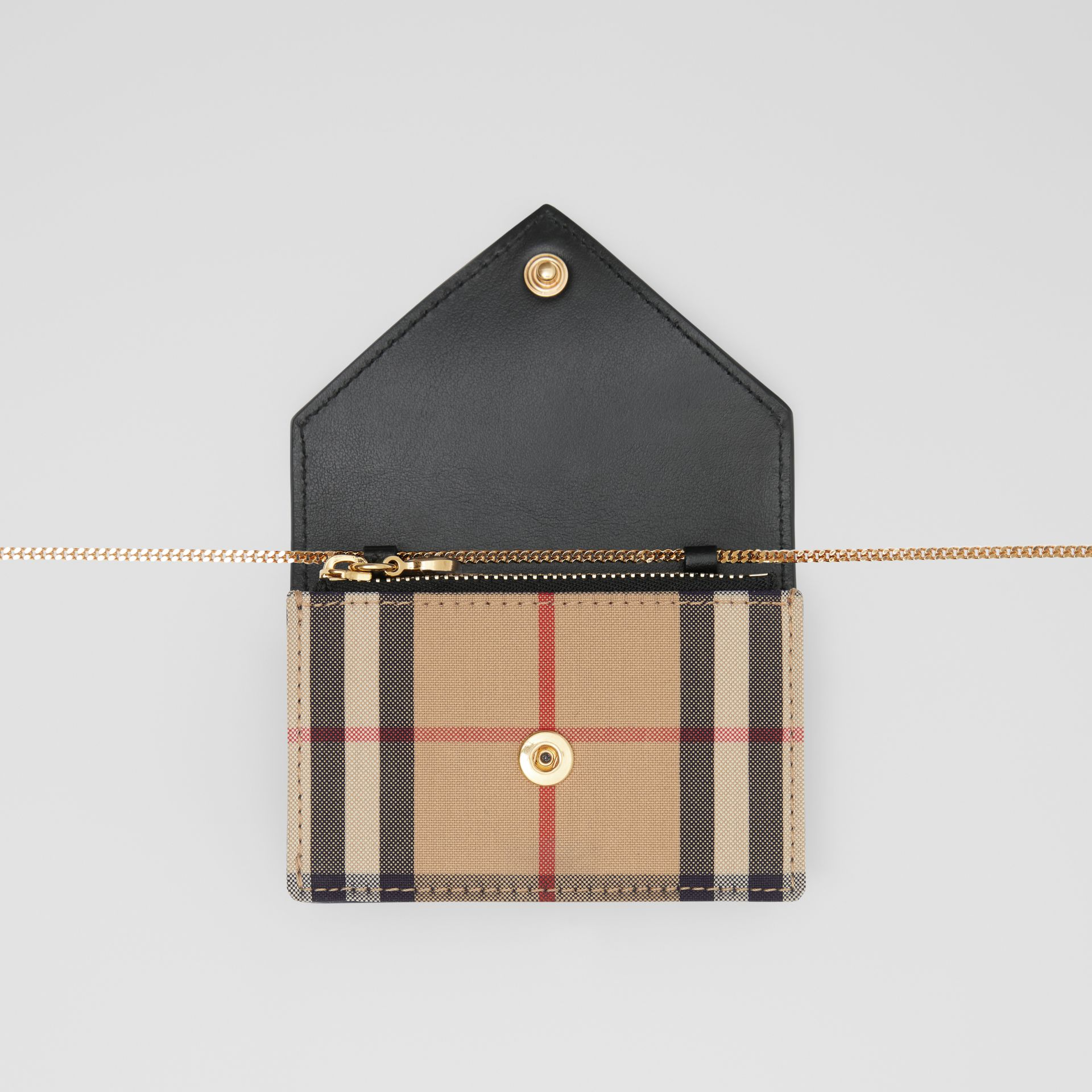 Vintage Check and Leather Card Case with Strap in Black - Women | Burberry United Kingdom - gallery image 2