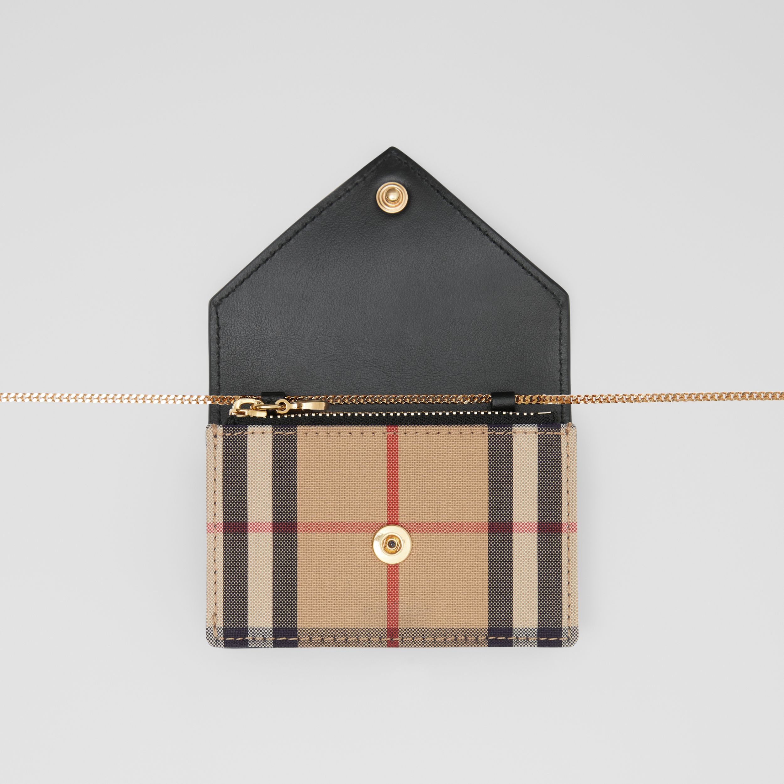 Vintage Check and Leather Card Case with Strap in Black - Women | Burberry - 3