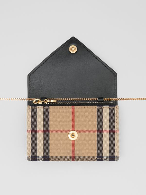 Vintage Check and Leather Card Case with Strap in Black - Women | Burberry United Kingdom - cell image 2