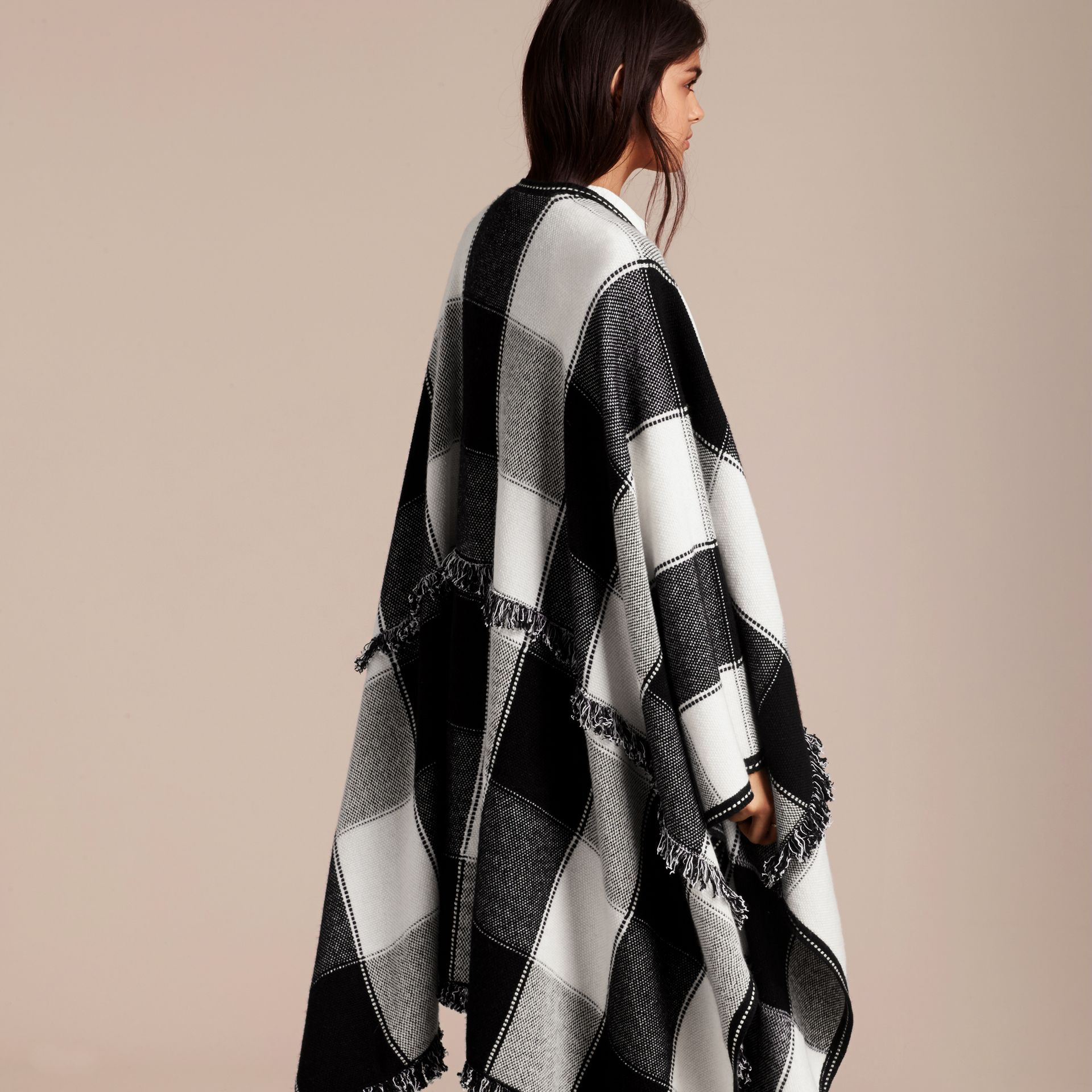 Black Check Wool Cashmere Cape with Fringing - gallery image 5