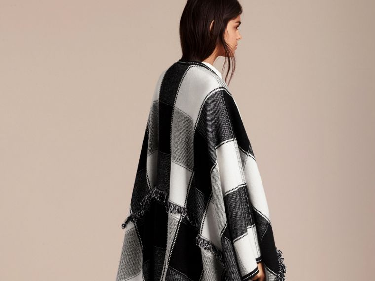 Black Check Wool Cashmere Cape with Fringing - cell image 4