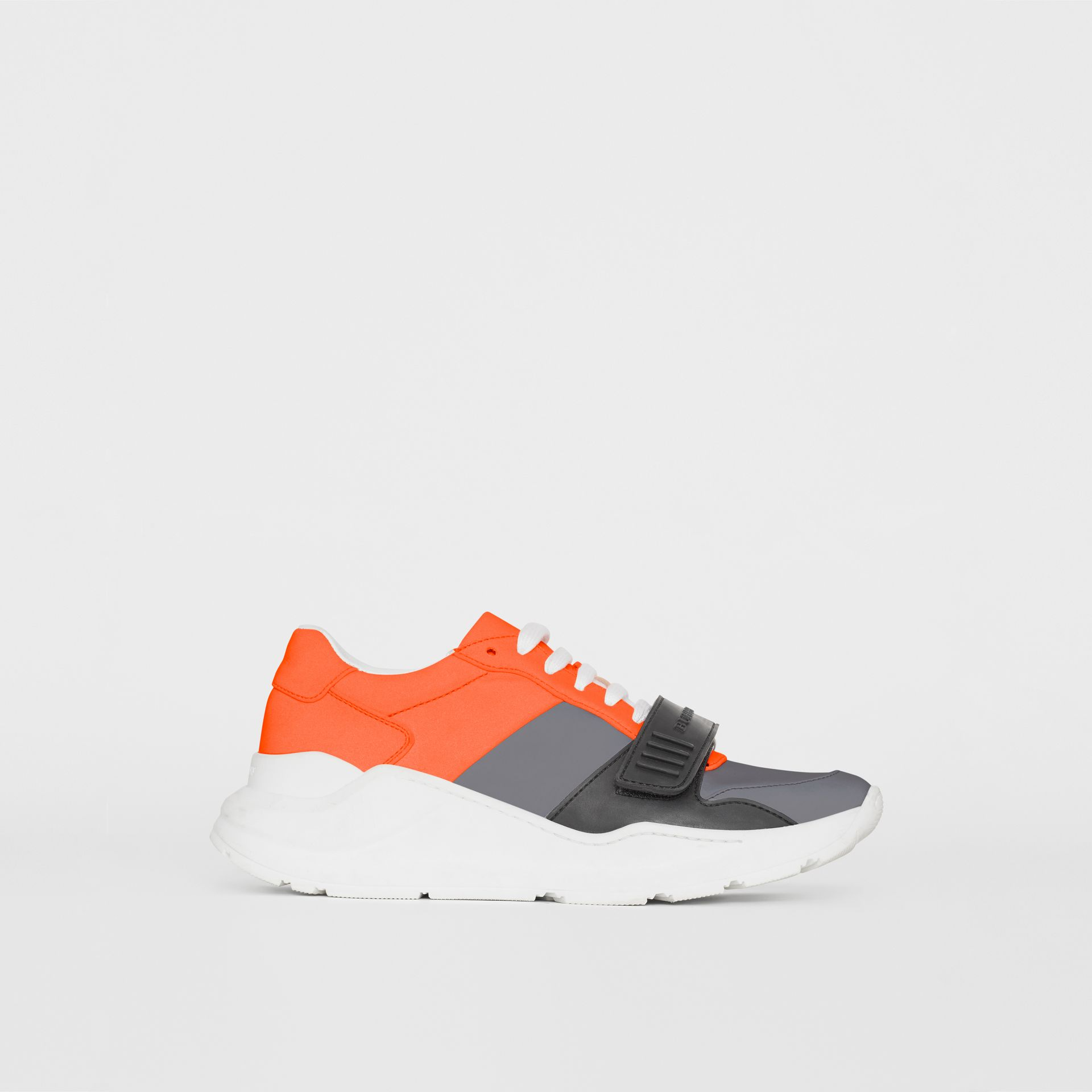 Colour Block Sneakers in Silver Grey/orange - Women | Burberry - gallery image 4