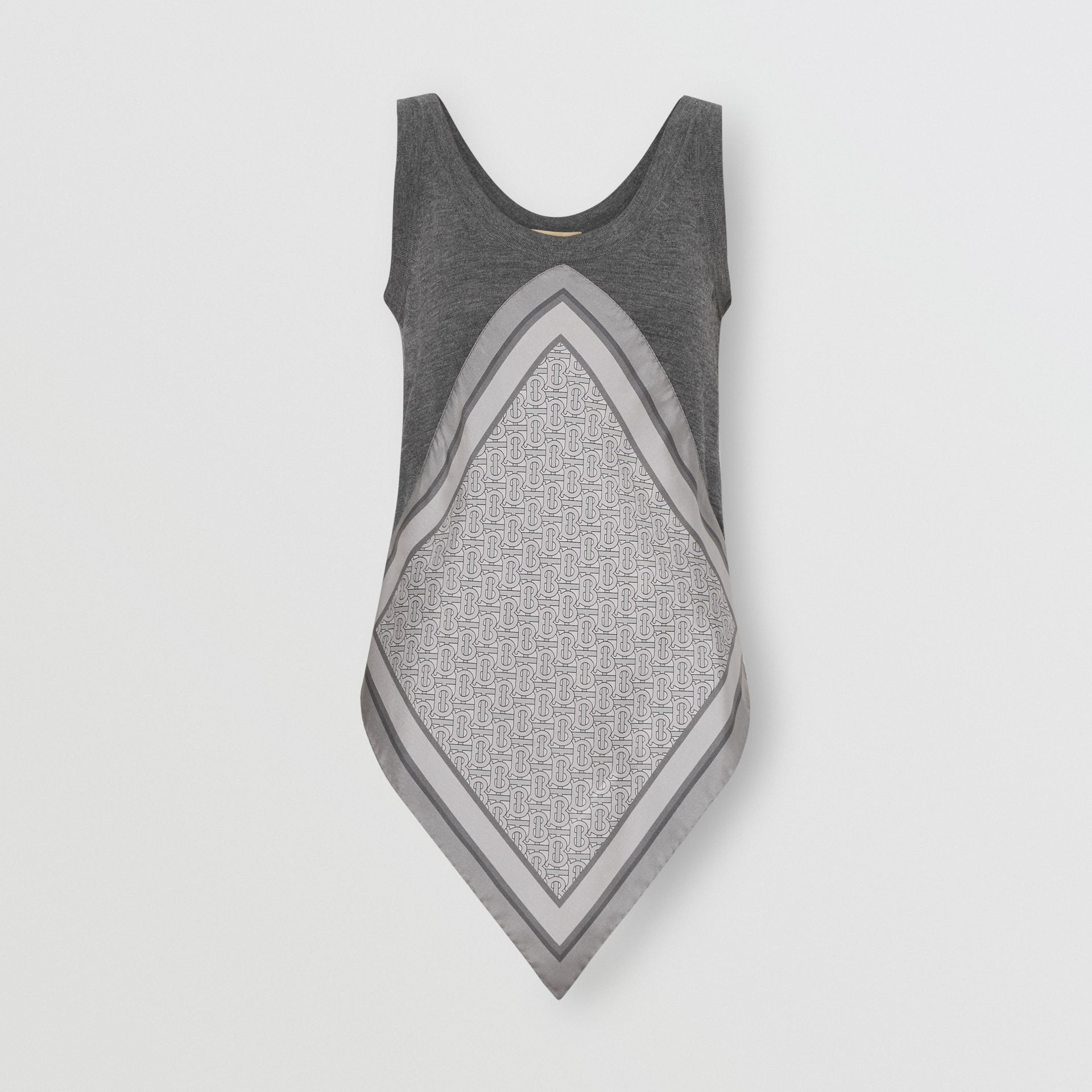 Monogram Print Scarf Detail Wool Vest in Grey Melange - Women | Burberry Australia - gallery image 3