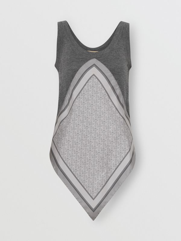 Monogram Print Scarf Detail Wool Vest in Grey Melange - Women | Burberry United Kingdom - cell image 3
