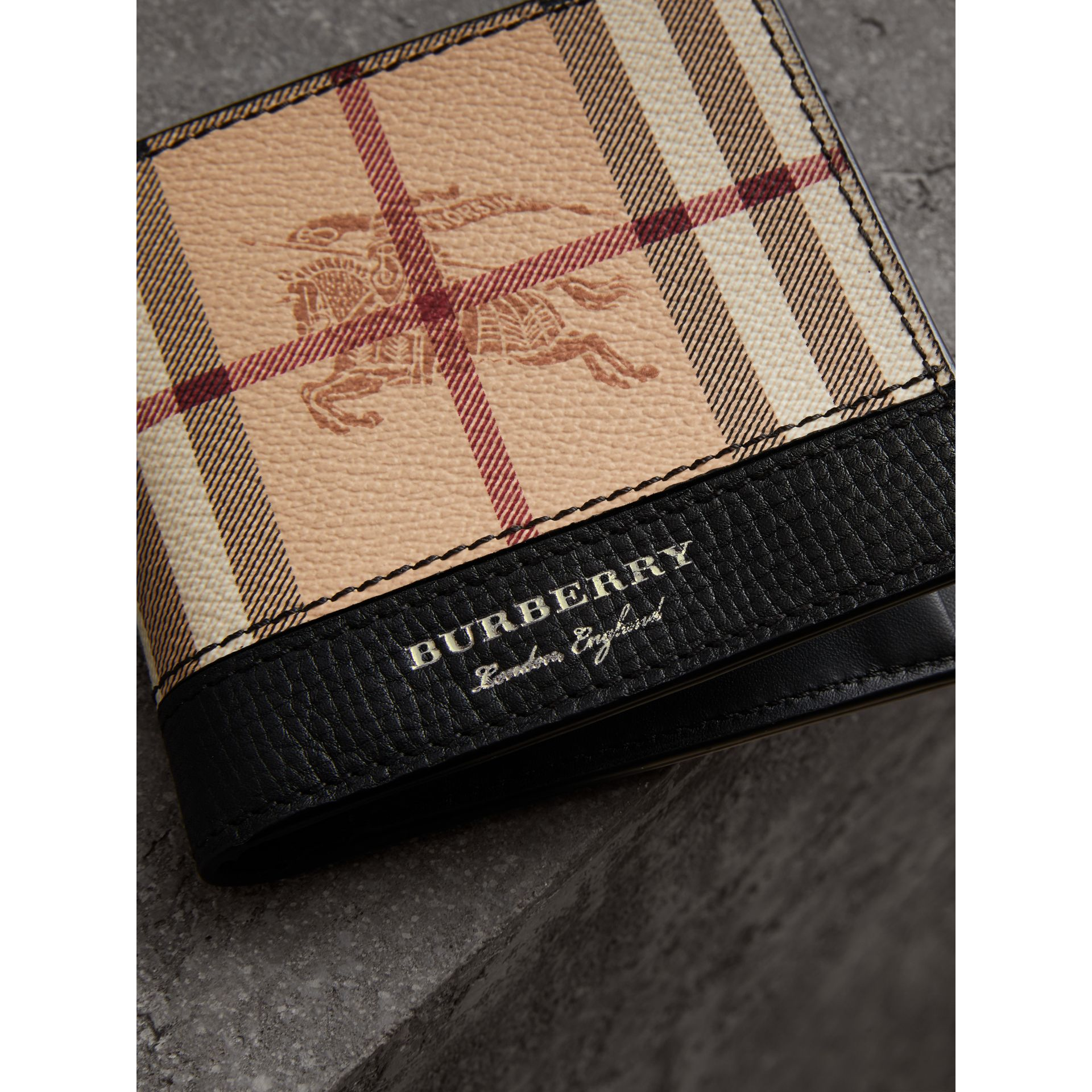 Haymarket Check International Bifold Coin Wallet in Black - Men | Burberry - gallery image 1