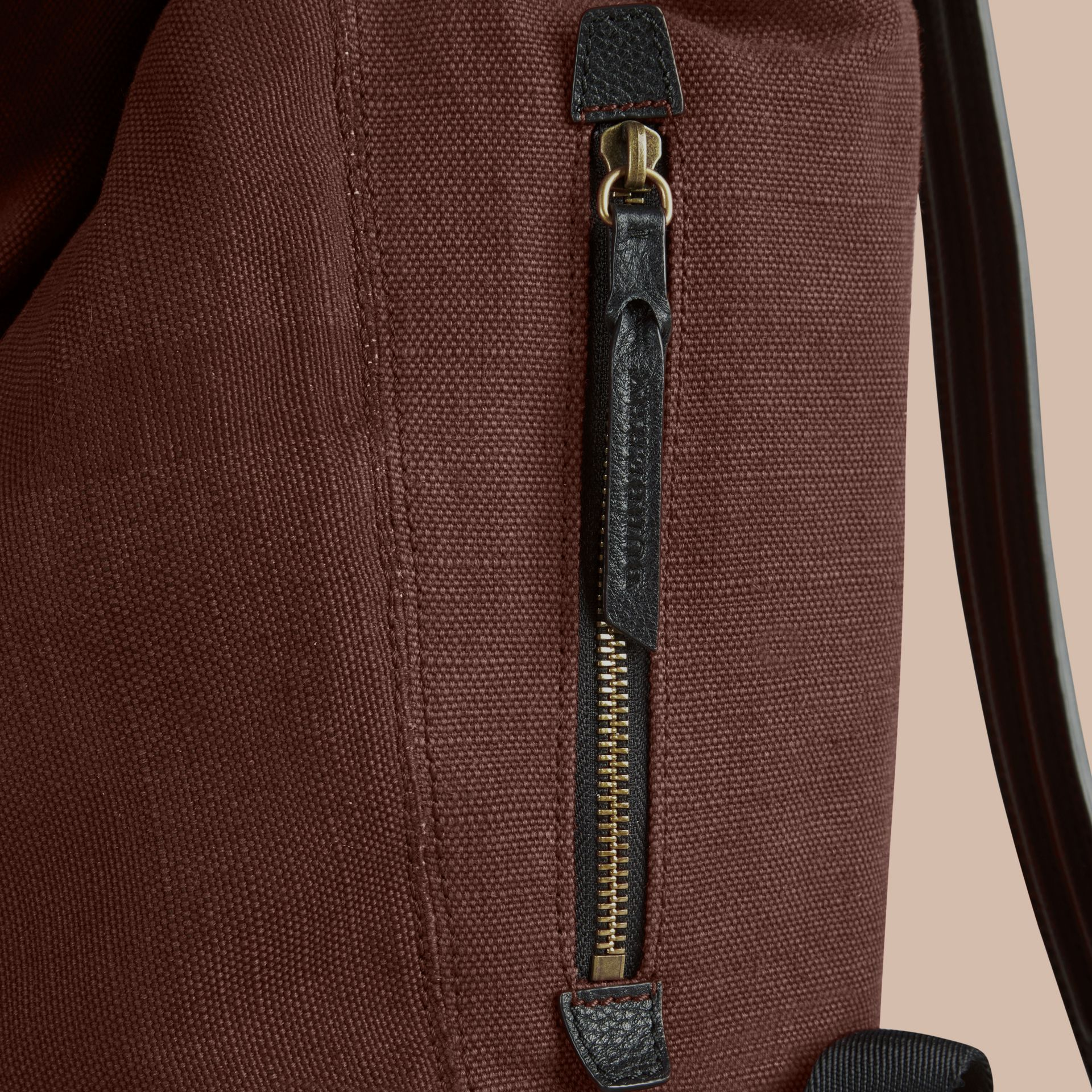 Claret Overdyed Canvas Check Backpack Claret - gallery image 6