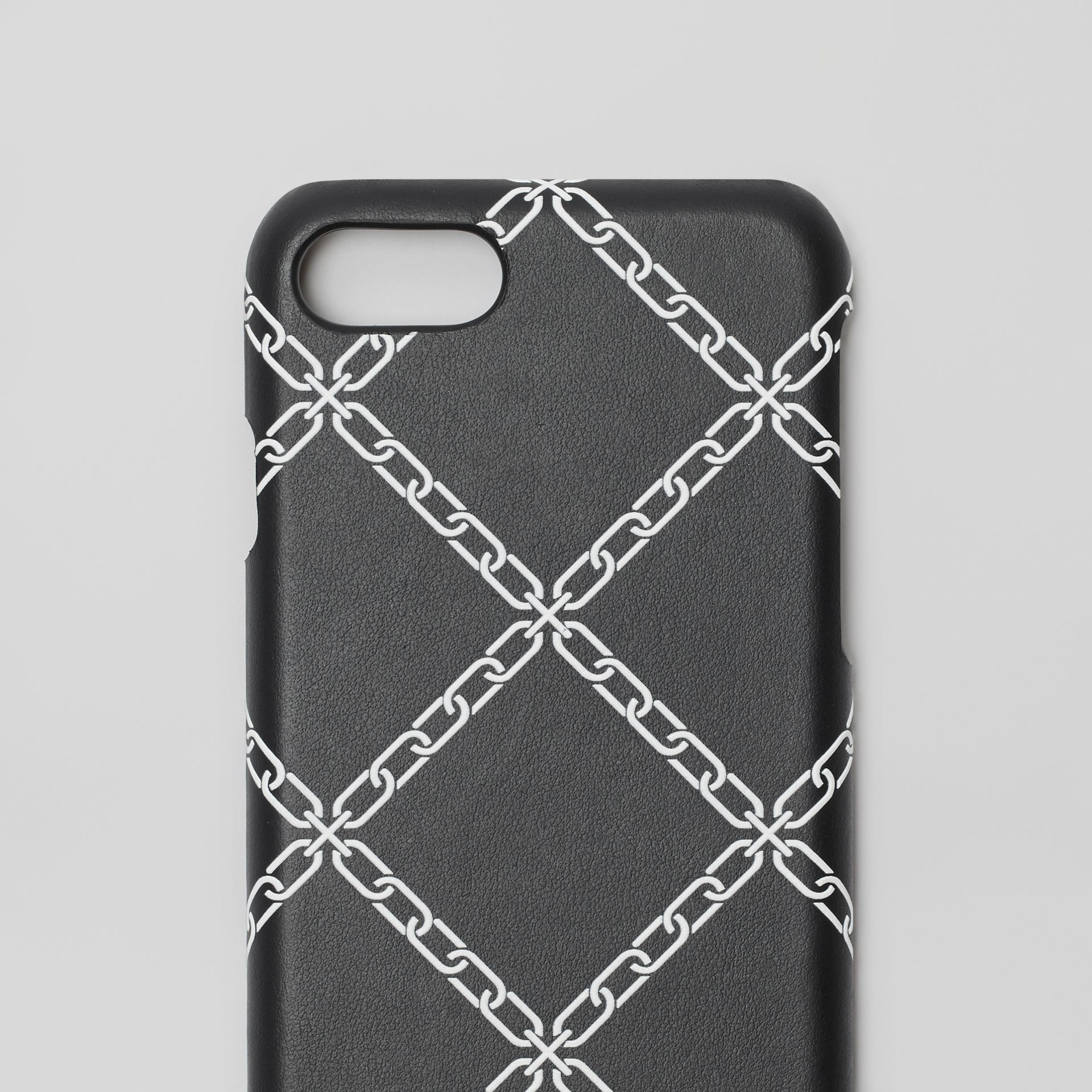 Link Print Leather iPhone 8 Case in Black | Burberry Canada - gallery image 1