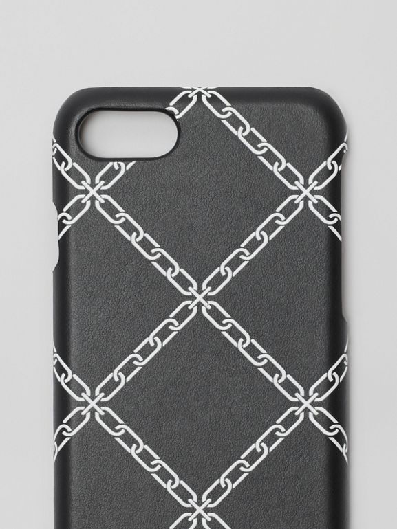 Link Print Leather iPhone 8 Case in Black | Burberry Canada - cell image 1