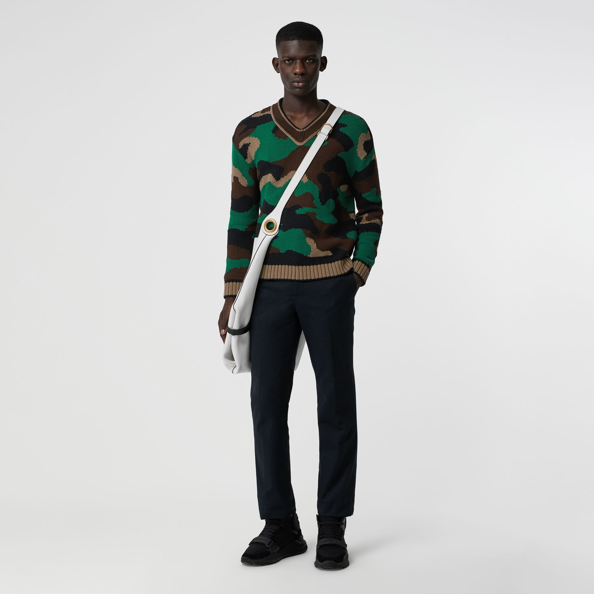 Camouflage Intarsia Cotton Blend Sweater in Forest Green - Men | Burberry Australia - gallery image 0