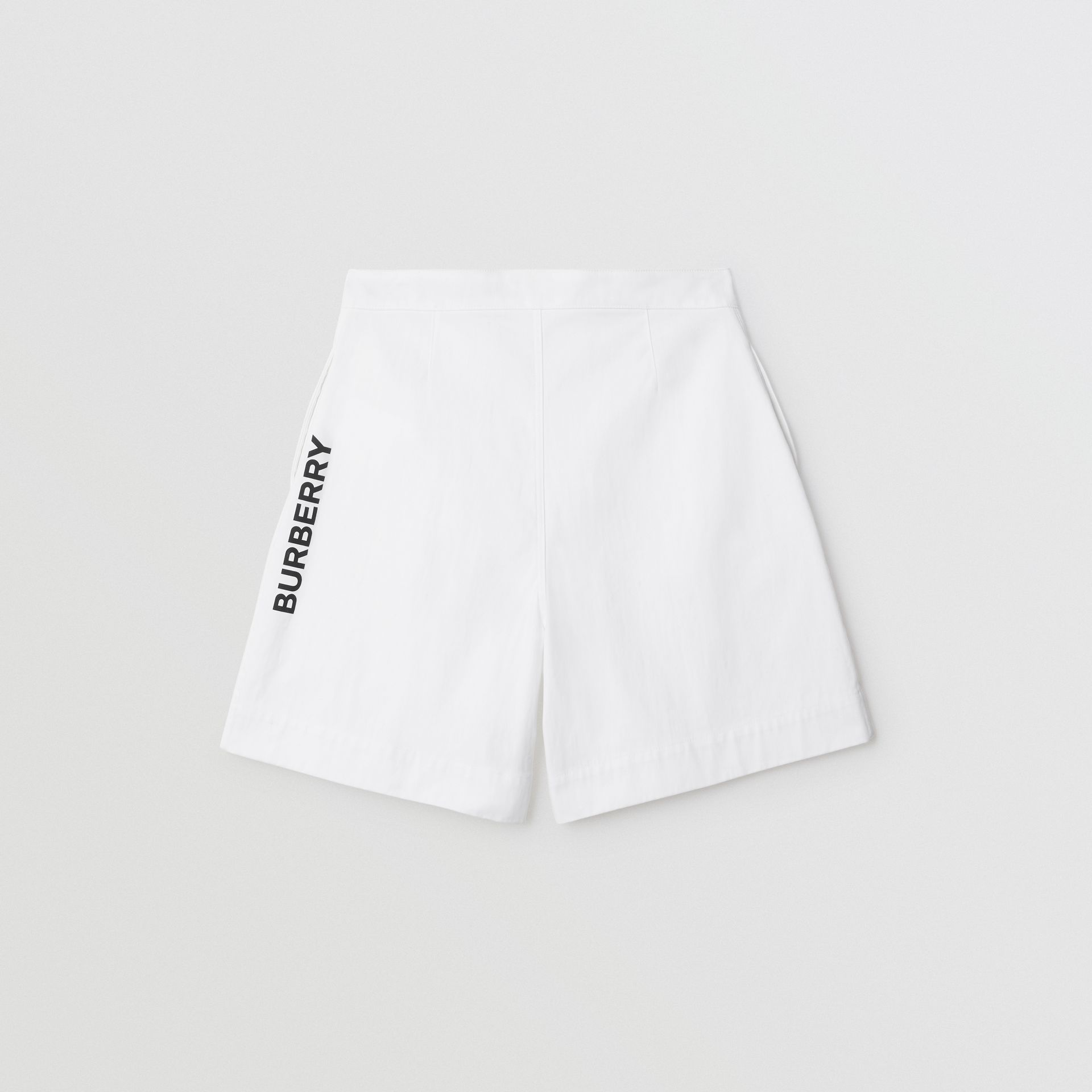 Logo Print Cotton Tailored Shorts in Optic White | Burberry - gallery image 3