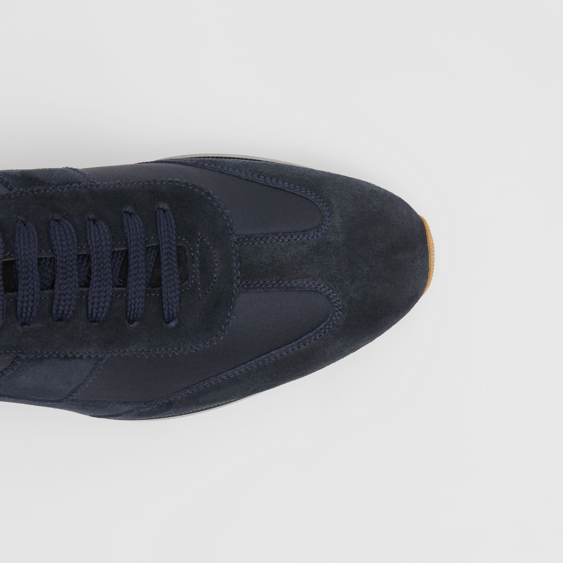 Neoprene Panel Suede Lace-up Shoes in Navy - Men | Burberry United Kingdom - gallery image 1