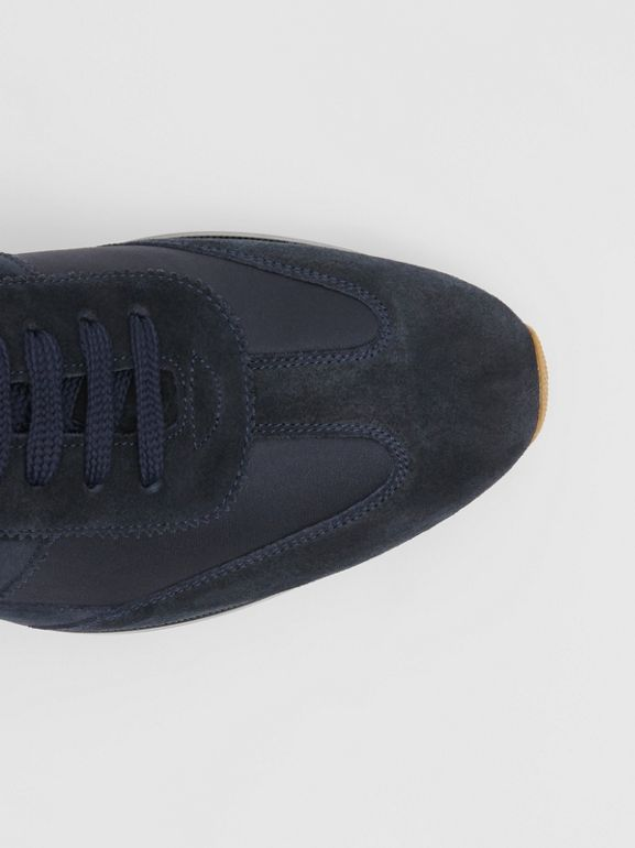 Neoprene Panel Suede Lace-up Shoes in Navy - Men | Burberry United Kingdom - cell image 1