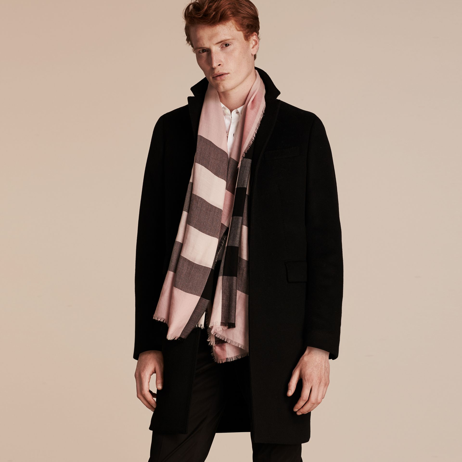 The Lightweight Cashmere Scarf in Check Rose - gallery image 4