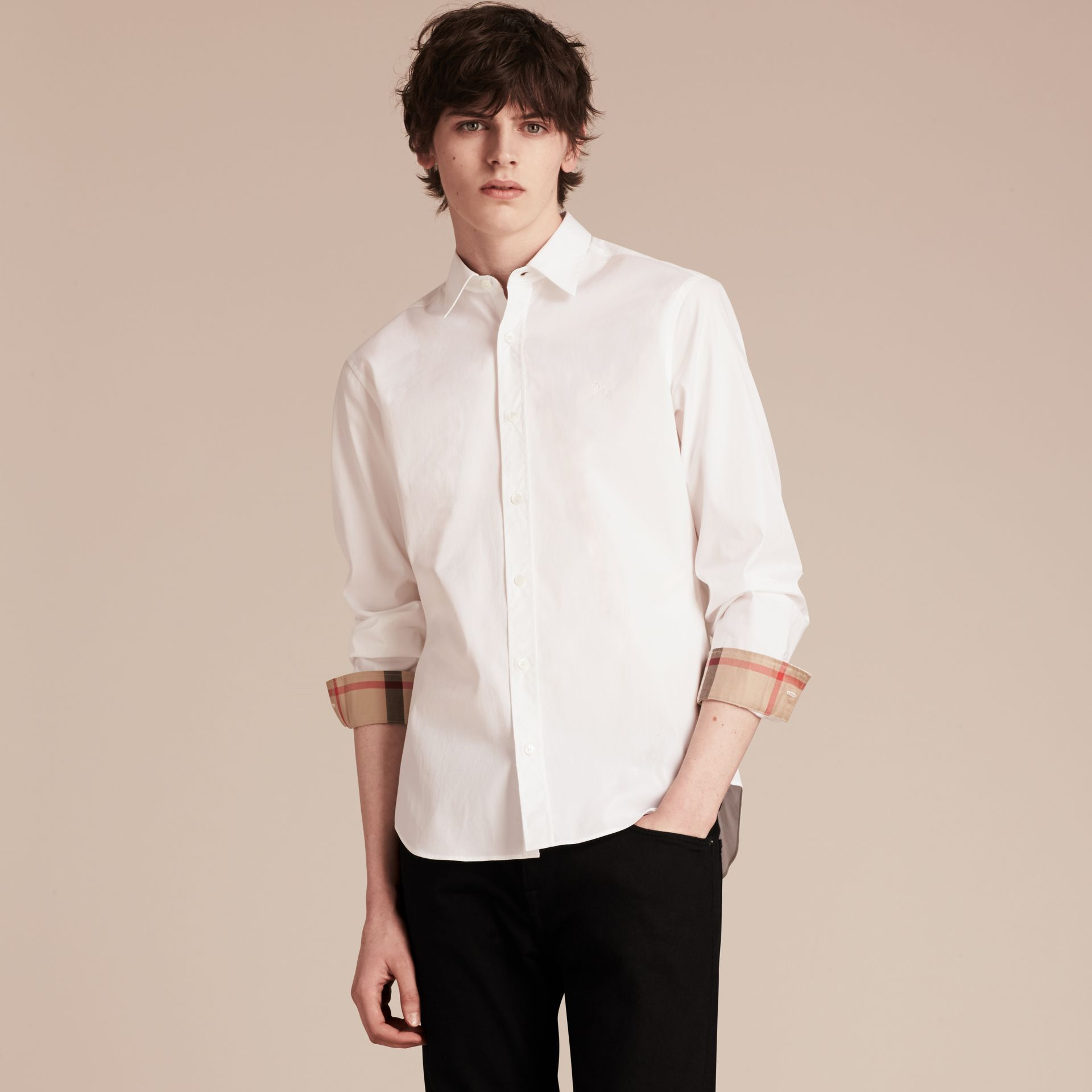 White Stretch Cotton Poplin Shirt - gallery image 1