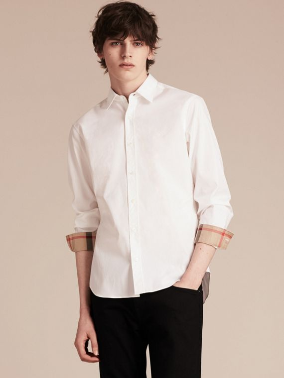Stretch Cotton Poplin Shirt - Men | Burberry Canada