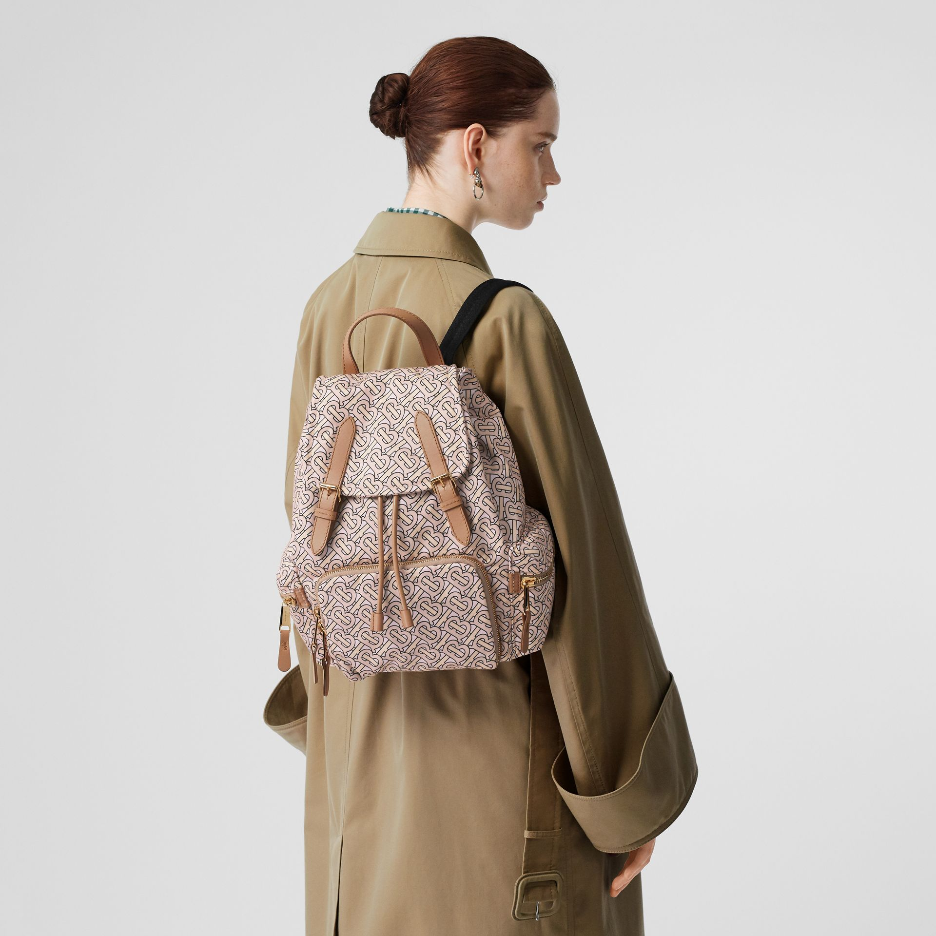 The Medium Rucksack in Monogram Print Nylon in Blush - Women | Burberry Australia - gallery image 2