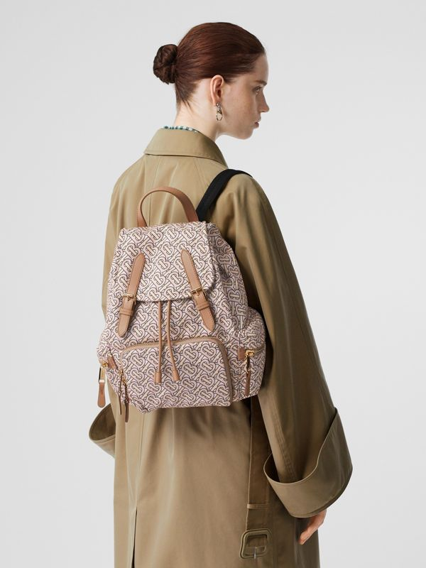 The Medium Rucksack in Monogram Print Nylon in Blush - Women | Burberry Australia - cell image 2