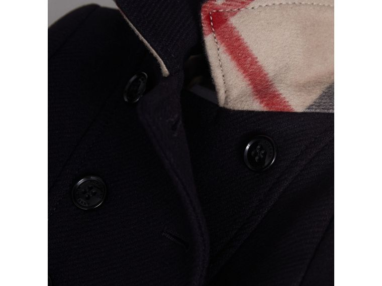 Wool Cashmere Blend Twill Tailored Coat in Navy | Burberry - cell image 1