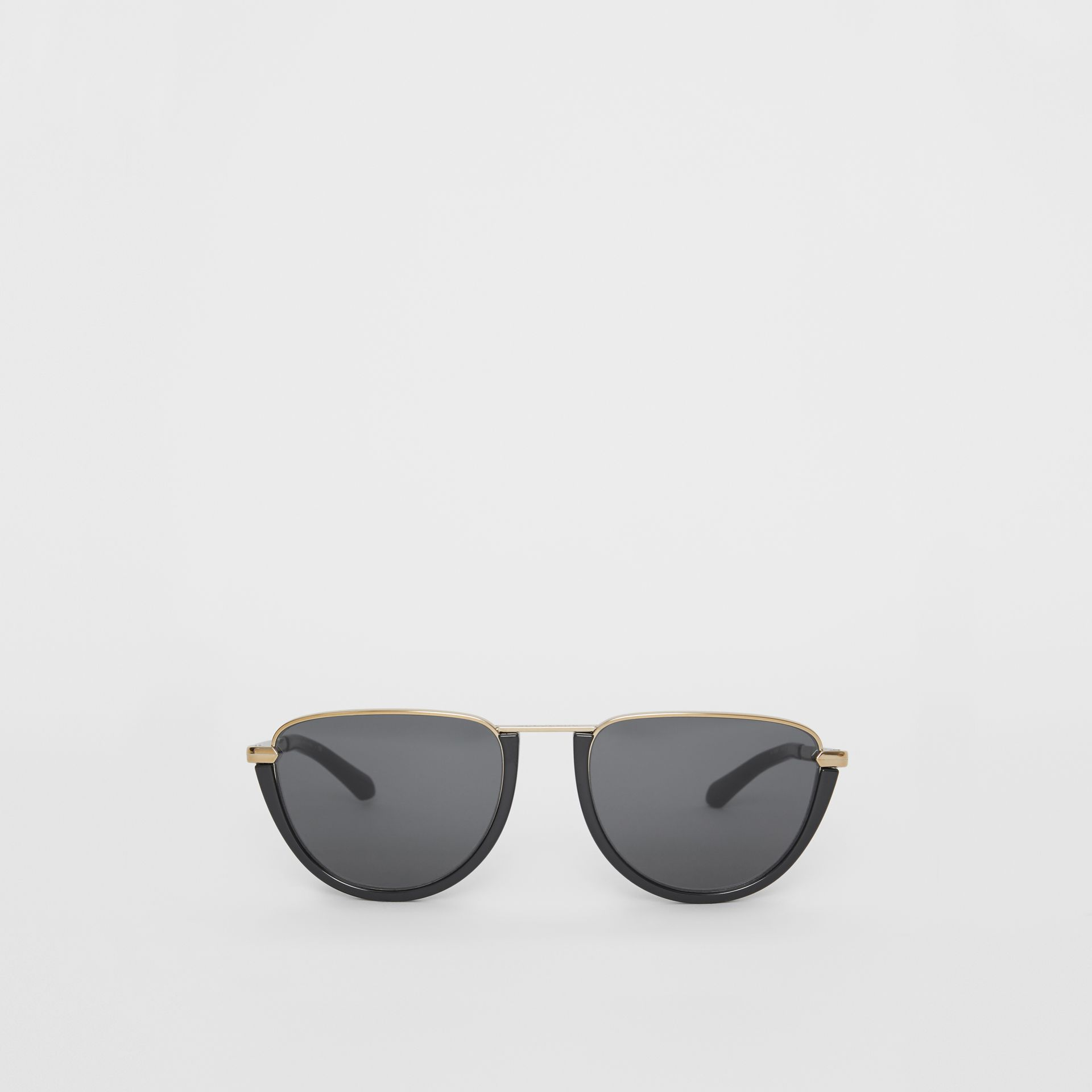 Half Moon Pilot Round Frame Sunglasses in Black - Women | Burberry Australia - gallery image 0