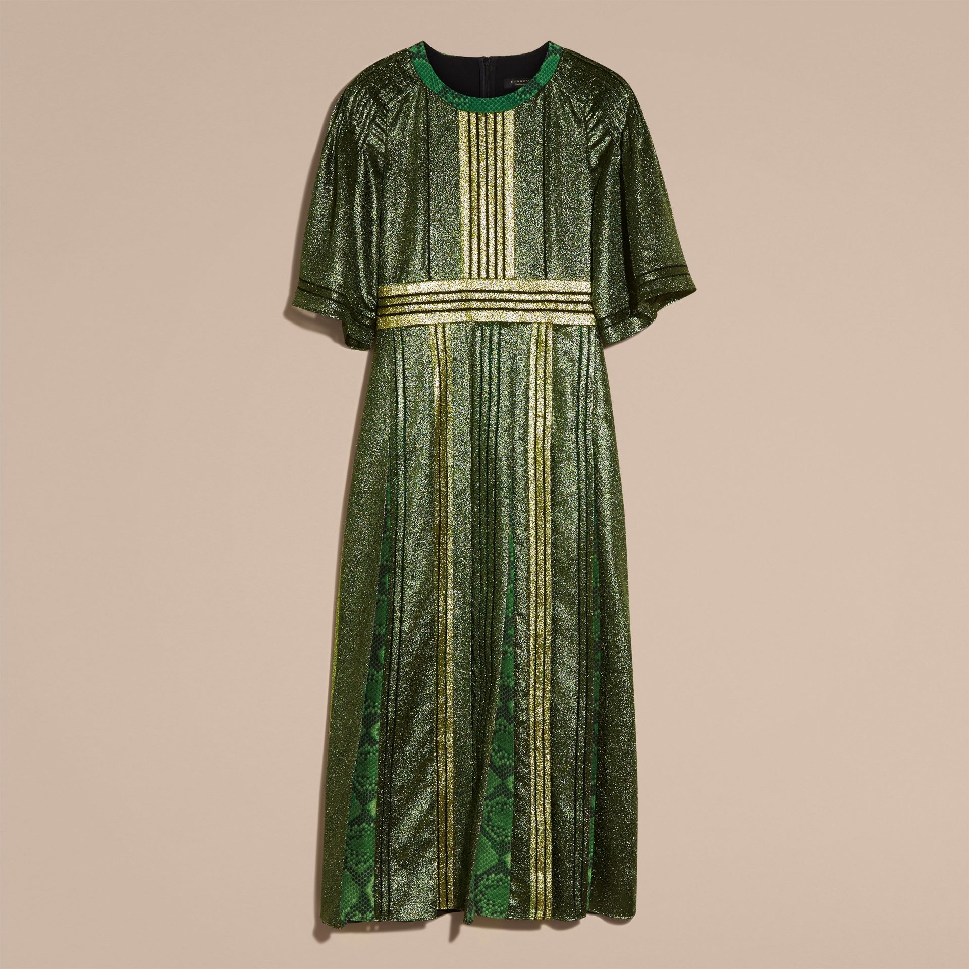 Sage Long Lamé and Python Print Dress Sage - gallery image 4