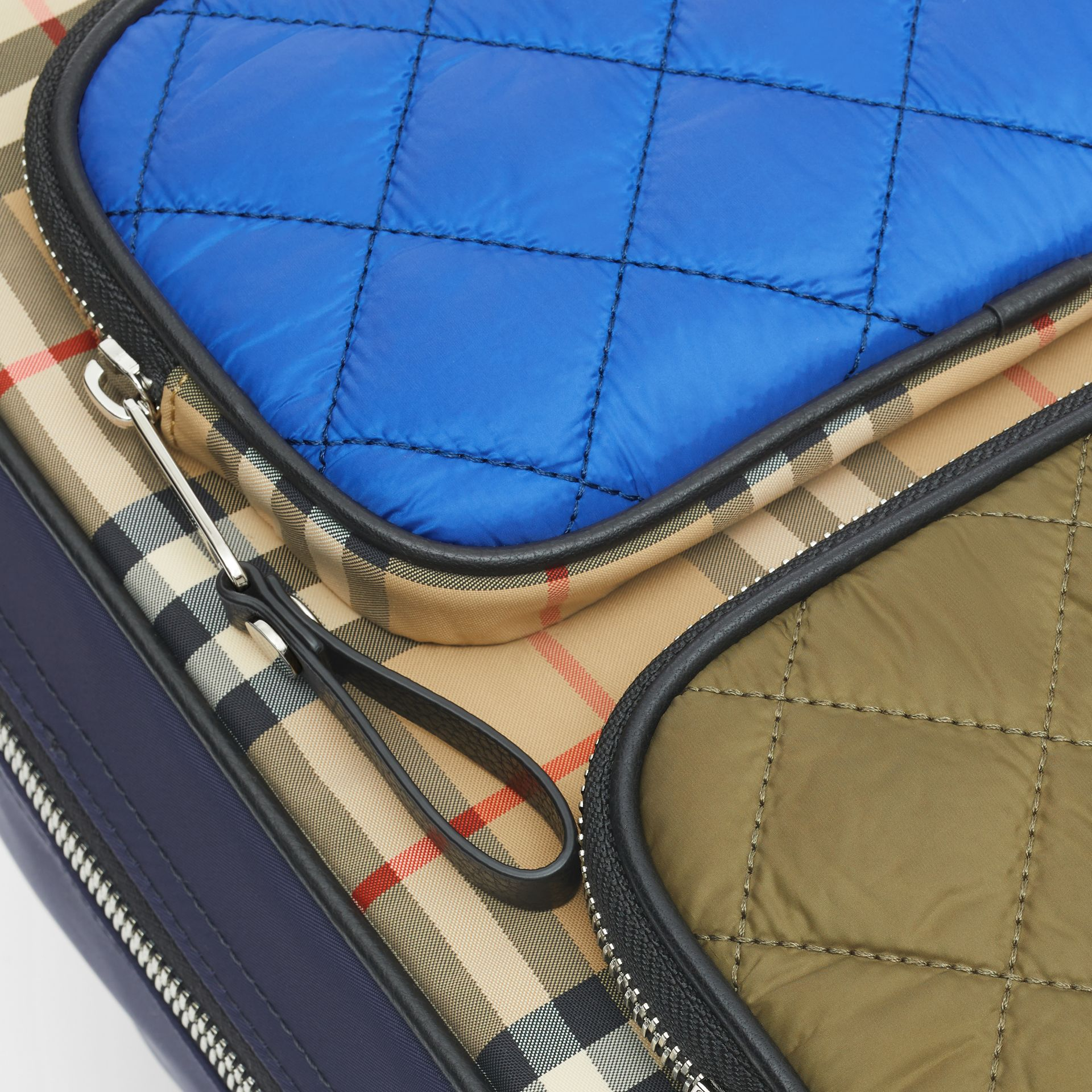 Colour Block Pocket Detail Vintage Check Backpack in Cobalt Blue - Children | Burberry - gallery image 1
