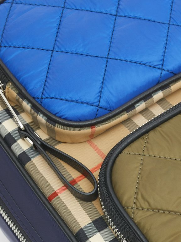 Colour Block Pocket Detail Vintage Check Backpack in Cobalt Blue - Children | Burberry - cell image 1