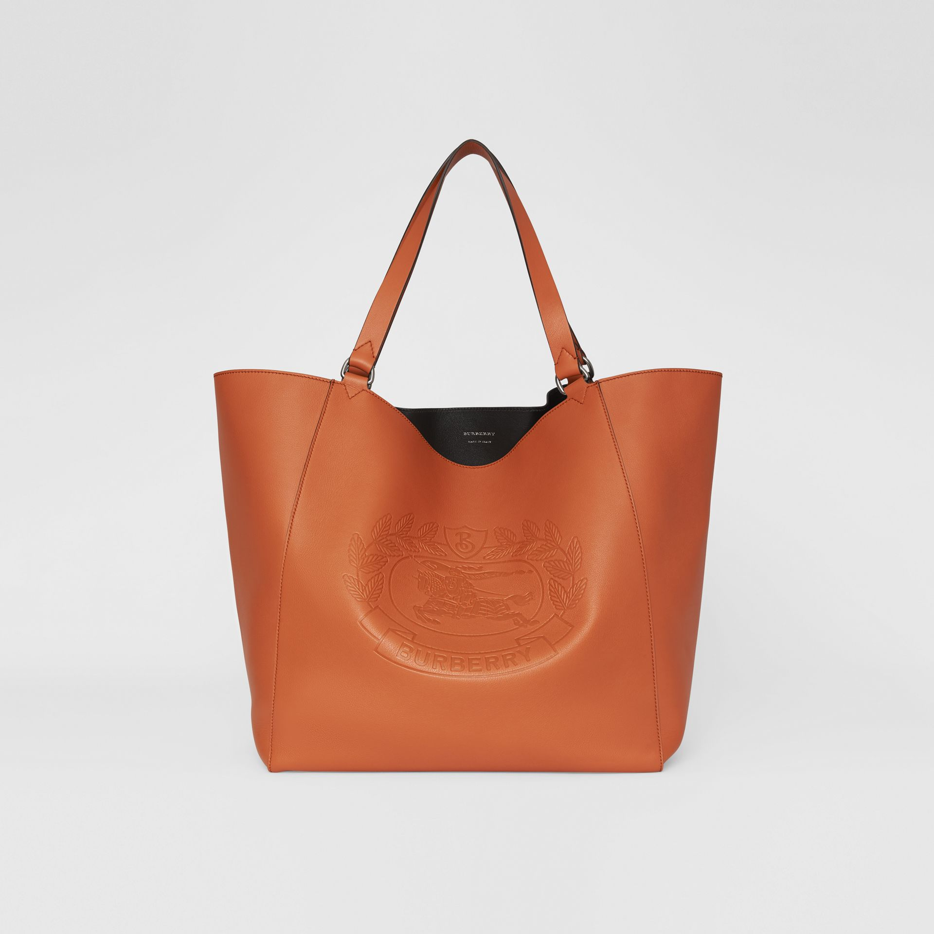 Large Embossed Crest Bonded Leather Tote in Bright Tan - Men | Burberry United Kingdom - gallery image 0