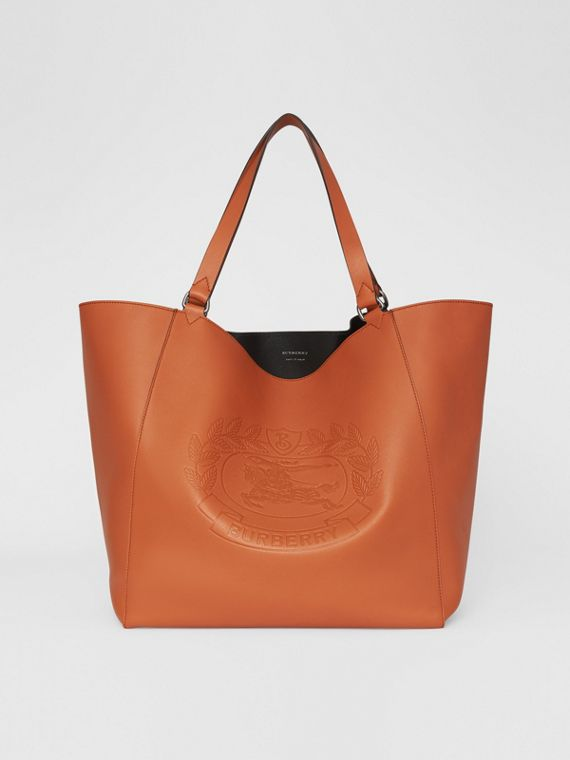 Large Embossed Crest Bonded Leather Tote in Bright Tan