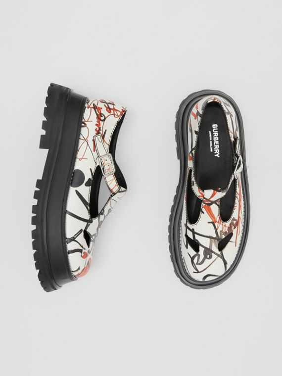 Graffiti Print Leather T-bar Shoes in Nude